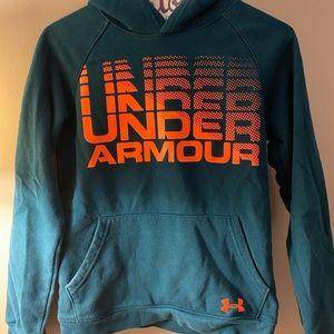 teal and orange under armour hoodie